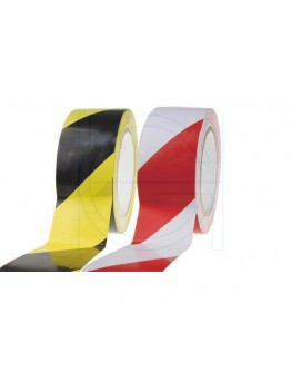 Vloermarkeringstape PVC rood/wit 50mm/33m