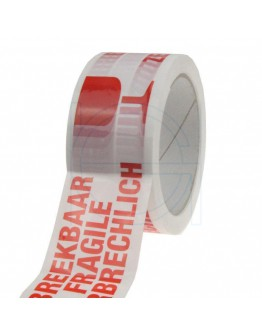 "PP acryl tape ""Breekbaar"" 3 talen High Tack Low Noise 48mm/66m"
