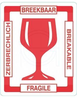 Etiket BREEKBAAR glas in 4 talen, Rol met 500 stuks