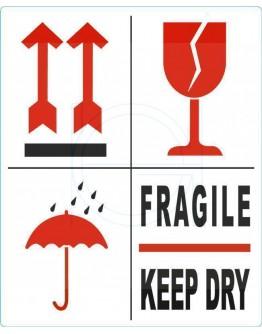 Etiket FRAGILE-KEEP DRY-PIJL-GLAS 500 pcs per roll