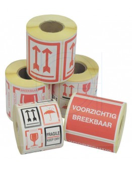 """Etiket RED ARROWS: """"This side up"""" 500 pcs per roll"""