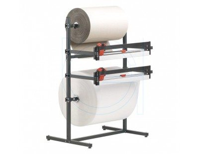 Roll dispenser 75cm for 2 rolls, with 2 cutting systems Rolhouders golfkarton