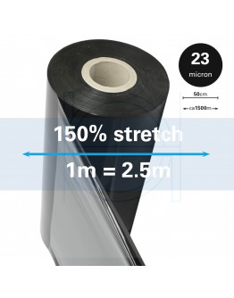 Machine stretch film 150% Standard black 23µm / 50cm / 1.500m