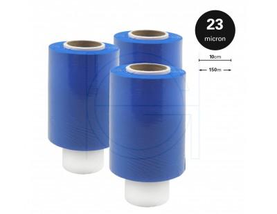Mini-stretch film rolls blue 23µm / 100mm / 150m Stretch film rolls