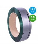 PET Band groen 15,5mm/0,90mm/1500m Gewafeld Omsnoeringen