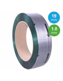 PET Band groen 19mm/1,00mm/1000m Gewafeld