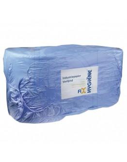 Industrial cleaning paper rolls FIX-HYGIËNE glued blue, 24cm / 300m - 2 rolls