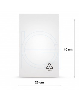 Flat poly bags LDPE, 25x40cm, 25my - 2000x