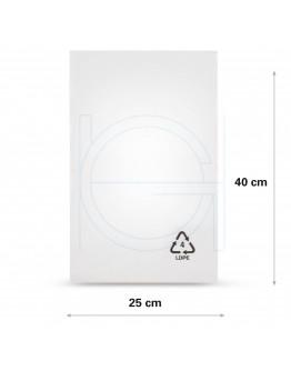 Flat poly bags LDPE, 25x40cm, 50my - 2000x