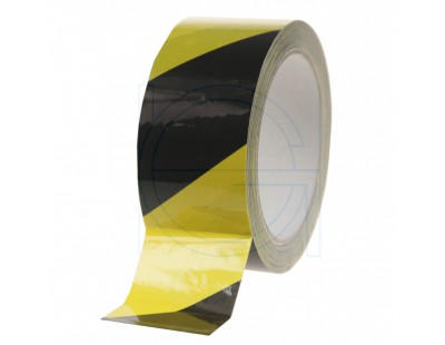 Floor marking tape 100my PVC yellow/black 50mm/33m Tape