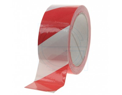 Floor marking tape 100my PVC red/white 50mm/33m Tape