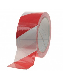 Floor marking tape 100my PVC red/white 50mm/33m
